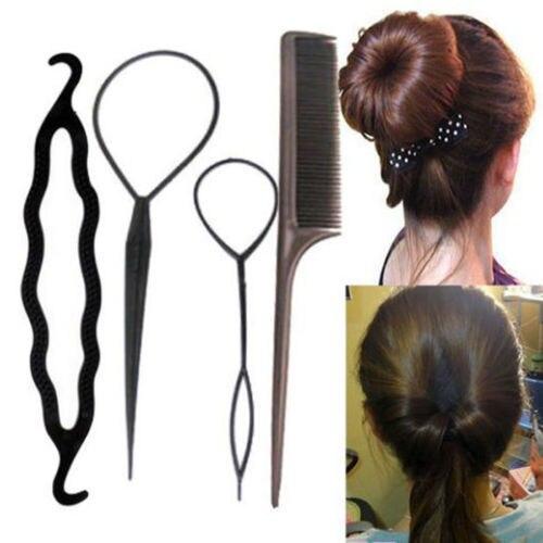 4 teile/satz Mode Haar Styling Twist Clip-Stick Brötchen Maker Braid Werkzeug Haar Band Stirnband Haar Zubehör