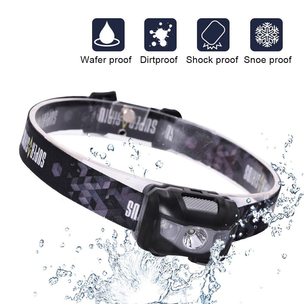 Anjoet, linterna frontal led de inducción, impermeable, Mini linterna recargable con batería integrada para Camping, luces de pesca, linterna