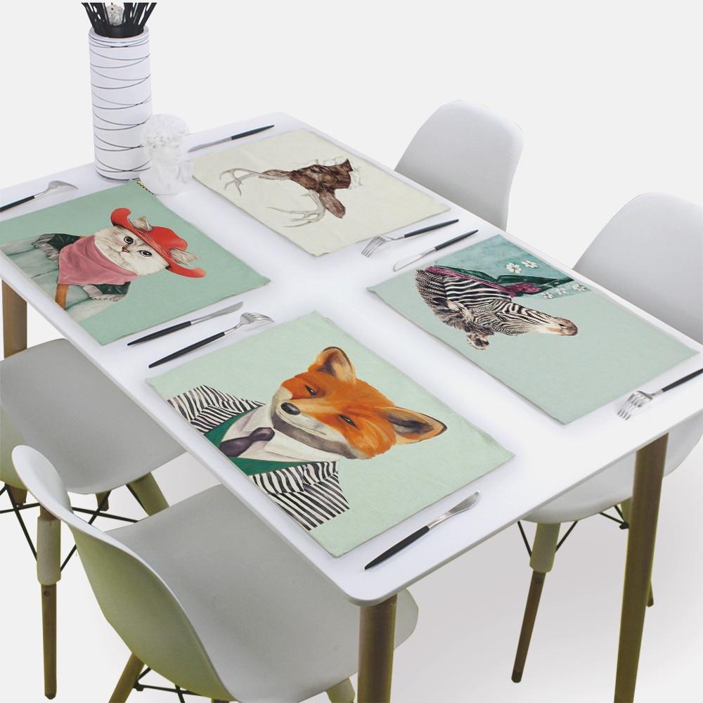 Servilleta De animales para mesa De té De servilleta De tela oso ciervo búho perro Mr. Animal 43*32Cm servilletas De lino para servilleta De papel De boda