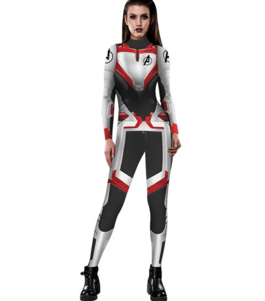 The Avengers 4 Endgame Zentai Bodysuit Cosplay Costume Black Widow Captain Marvel Women costume Superhero Jumpsuits Overall