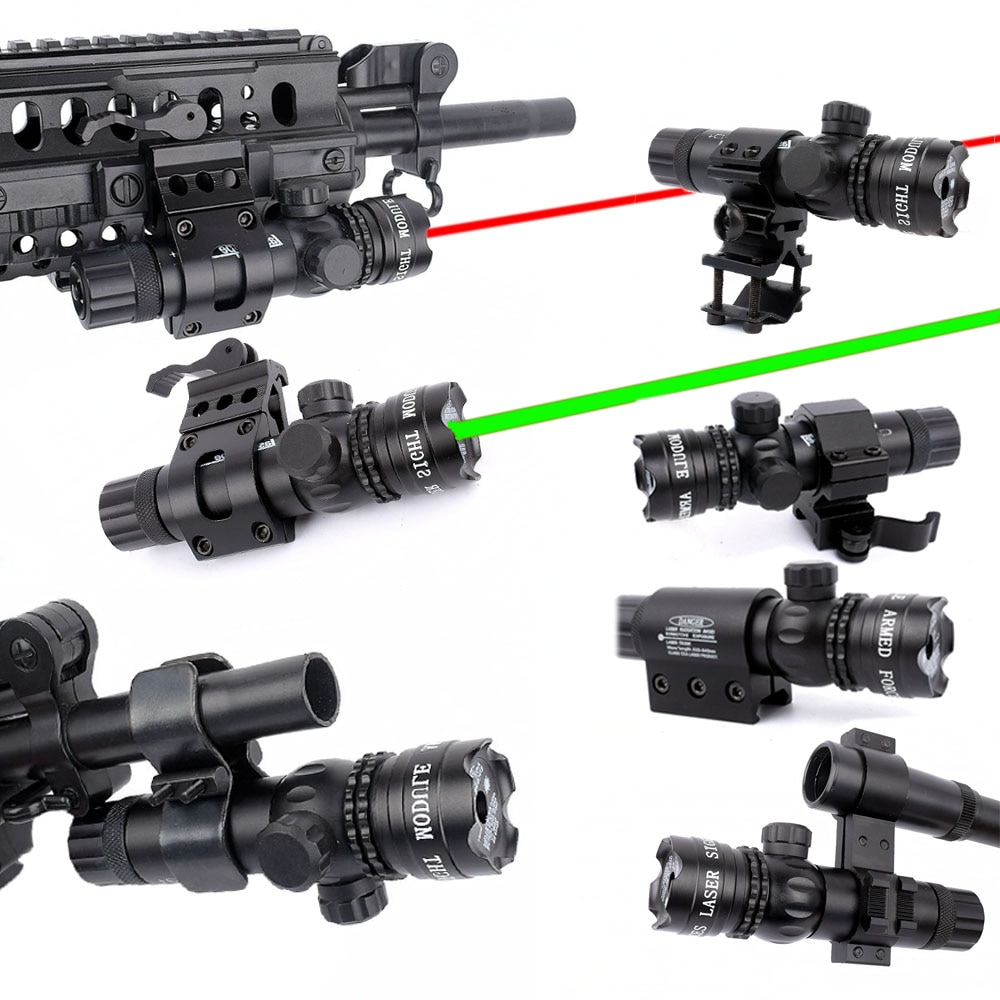 WIPSON New Tactical Outside Cree Green Red Dot Laser Sight Adjustable Switch Rifle Scope With Rail M