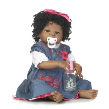 NPK, 57 CM, cuerpo completo de silicona, niña negra, muñeca Reborn, bebé falso, Peluca de pelo ondulado, niños, bañar, juguete Playmate, bebé realista, niño