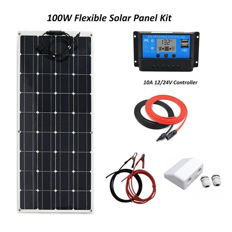 مرنة نظام لوحات شمسية 100W لوحة خلايا أحادية السيليكون لوحات + 10A LCD الشمسية جهاز التحكم في الشحن + كابل + موصل كابل