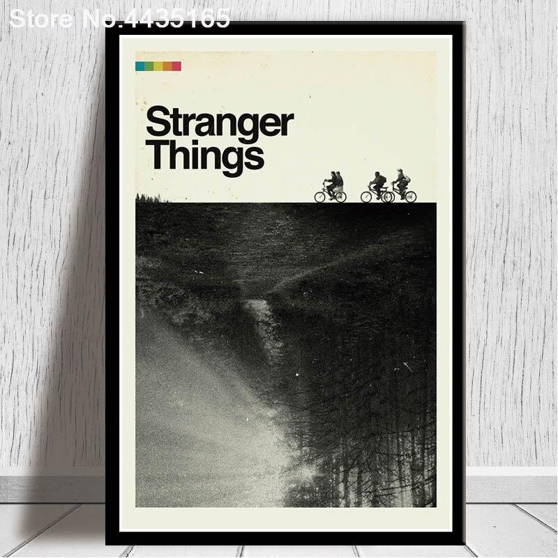 Cartel de stranger things arte de la película clásica carteles e impresiones imágenes para la pared lienzo pintura moderna para la decoración del hogar de la sala de estar