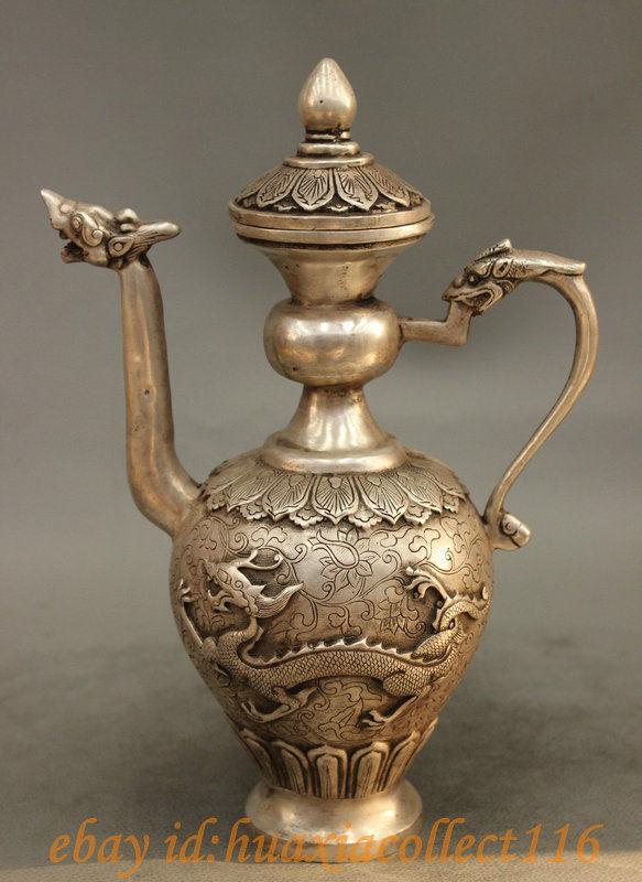 """10 """"Popular China Chinese Silver Budismo Estatua Dragon Head Flor Medicina Wine Pot Tetera de cobre Decoración real de Latón de Bronce"""