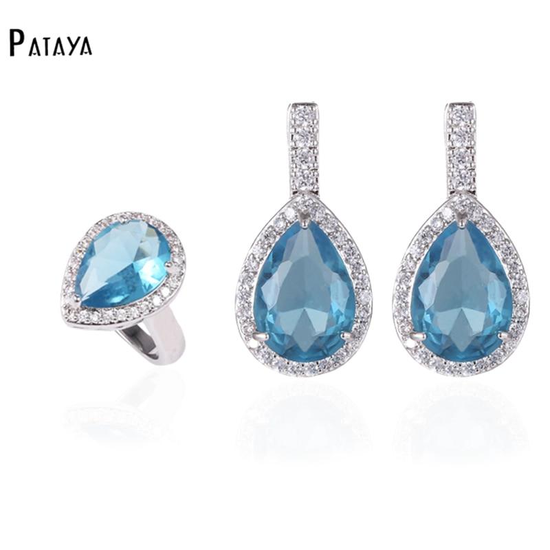 PATAYA, conjuntos de joyas de gota azul claro, verdadero oro blanco, circón Natural, pendientes de anillo de boda de verano para mujer, conjunto de joyas morado
