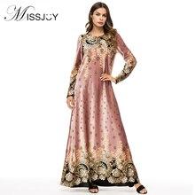 MISSJOY 2019 Pakistani Moroccan Kaftan Turkish Velvet abaya Dress Velvet Long Sleeve Flower Printed Muslim Arabian women costume