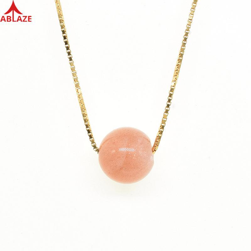 Agosto Brith Stones Natural Sunstone Chokers collares ajustable oro rosa 925 Plata de Ley suerte santa joyería fina # c032n