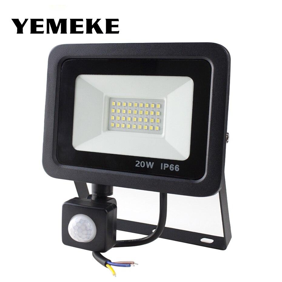 Foco de luz Led para exteriores, Reflector con Sensor de movimiento, 220V, 10W, 20W, 30W, 50W, Reflector de lámpara de pared, iluminación de jardín a prueba de agua
