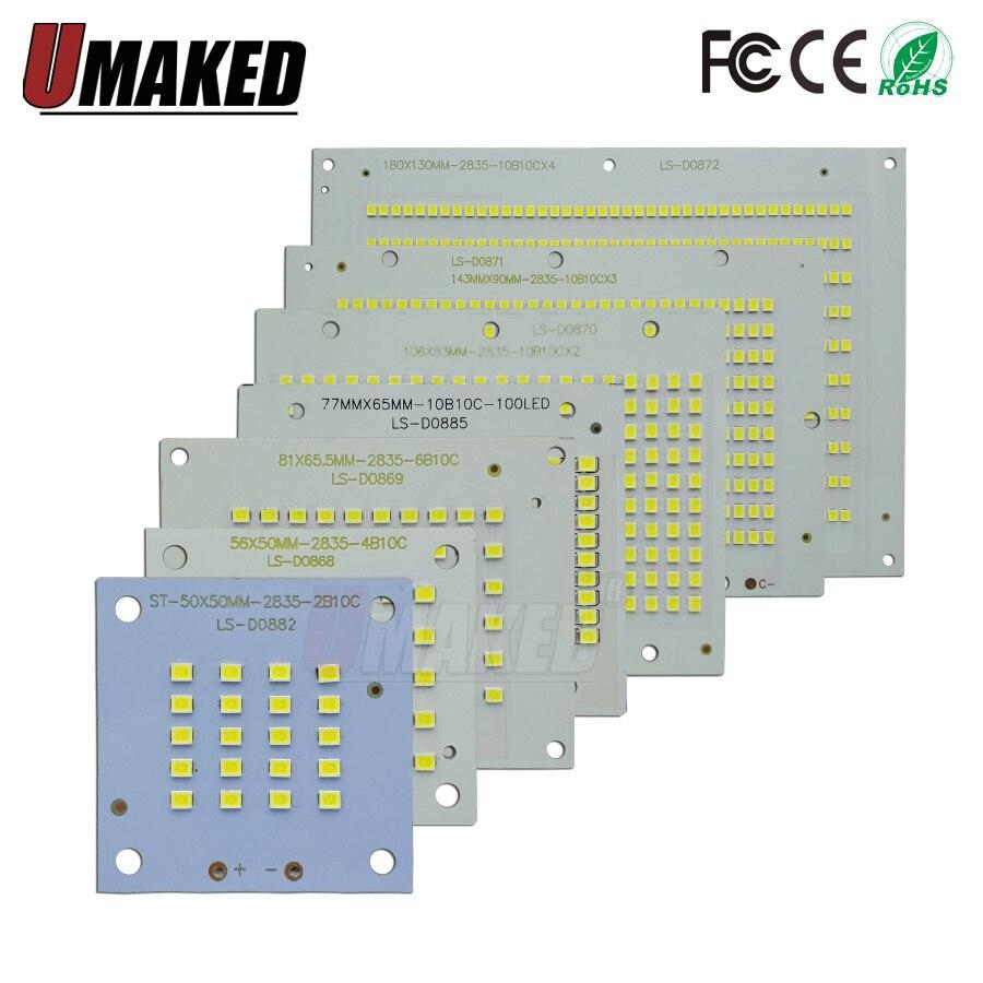 Placa de 100% SMD2835, placa de aluminio para reflector LED, de potencia completa, PCB 10W 20W 30W 50W 70W 100W 200W led PCB