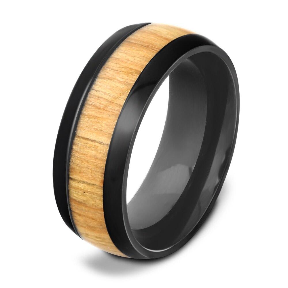 Anillo de acero inoxidable con incrustaciones de madera de caoba auténtica, anillo de bodas de madera para hombres
