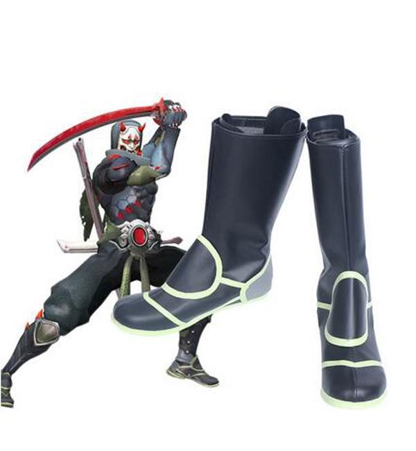 OW Genji piel Oni Cosplay botas Zapatos juego fiesta Cosplay botas hechas a medida para hombres zapatos