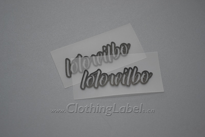 Transparent washable swimwear clothing labels, TPU labels with black logo.