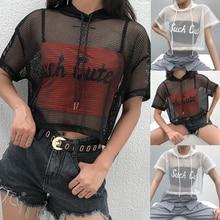Camiseta de manga corta con capucha de red de malla calada para mujer, camisetas Negro transparente fiesta