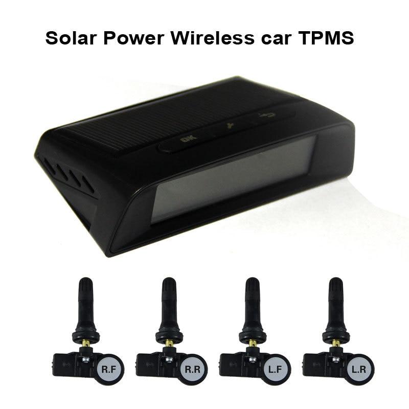 Sistema de supervisión de presión de neumáticos TPMS de coche inalámbrico de energía Solar con 4 sensores de tapa interna 433,92 Mhz