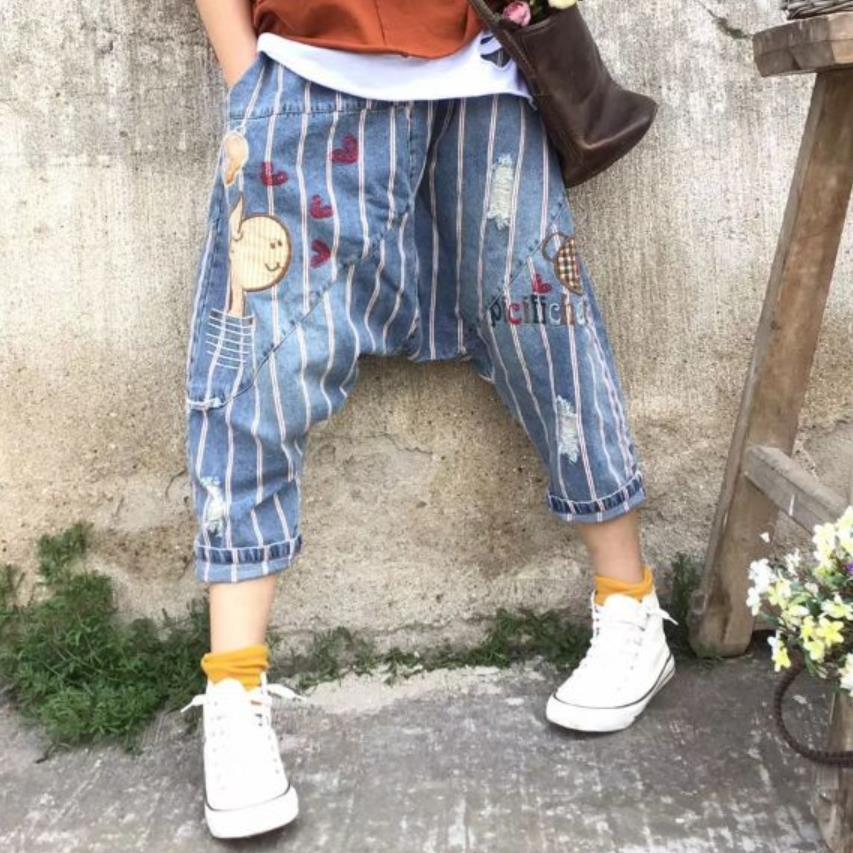 2019 spring summer Women hip hop cowboy Harem Bloomers stripe Baggy Low Crotch Denim Pants H63