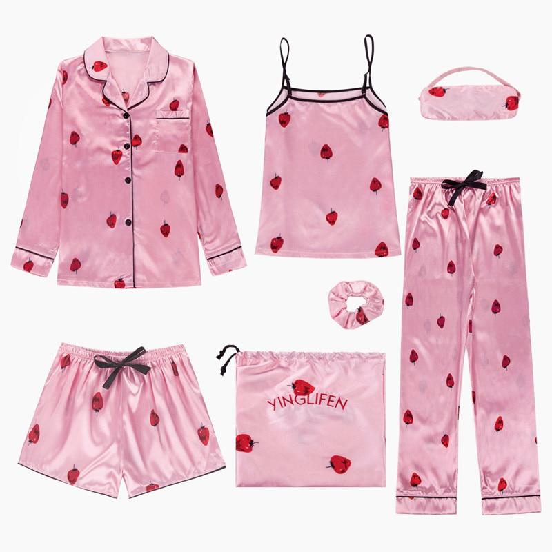Vêtements de nuit 7 pièces Pyjama ensemble 2019 femmes printemps été Sexy soie pyjamas ensembles Satin sommeil costume doux mignon vêtements de nuit maison vêtements