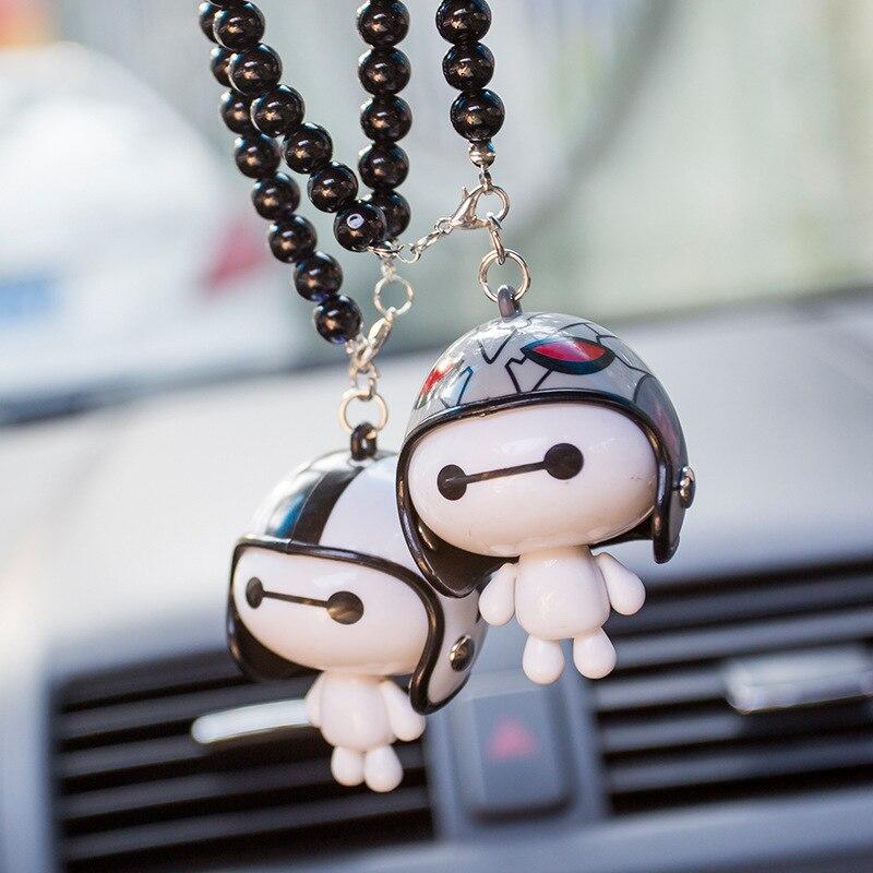 Colgante de joyería de coche bonito casco Baymax dibujos animados adornos muñecos para coche joyería coche colgante para espejo retrovisor accesorios de producto de coche