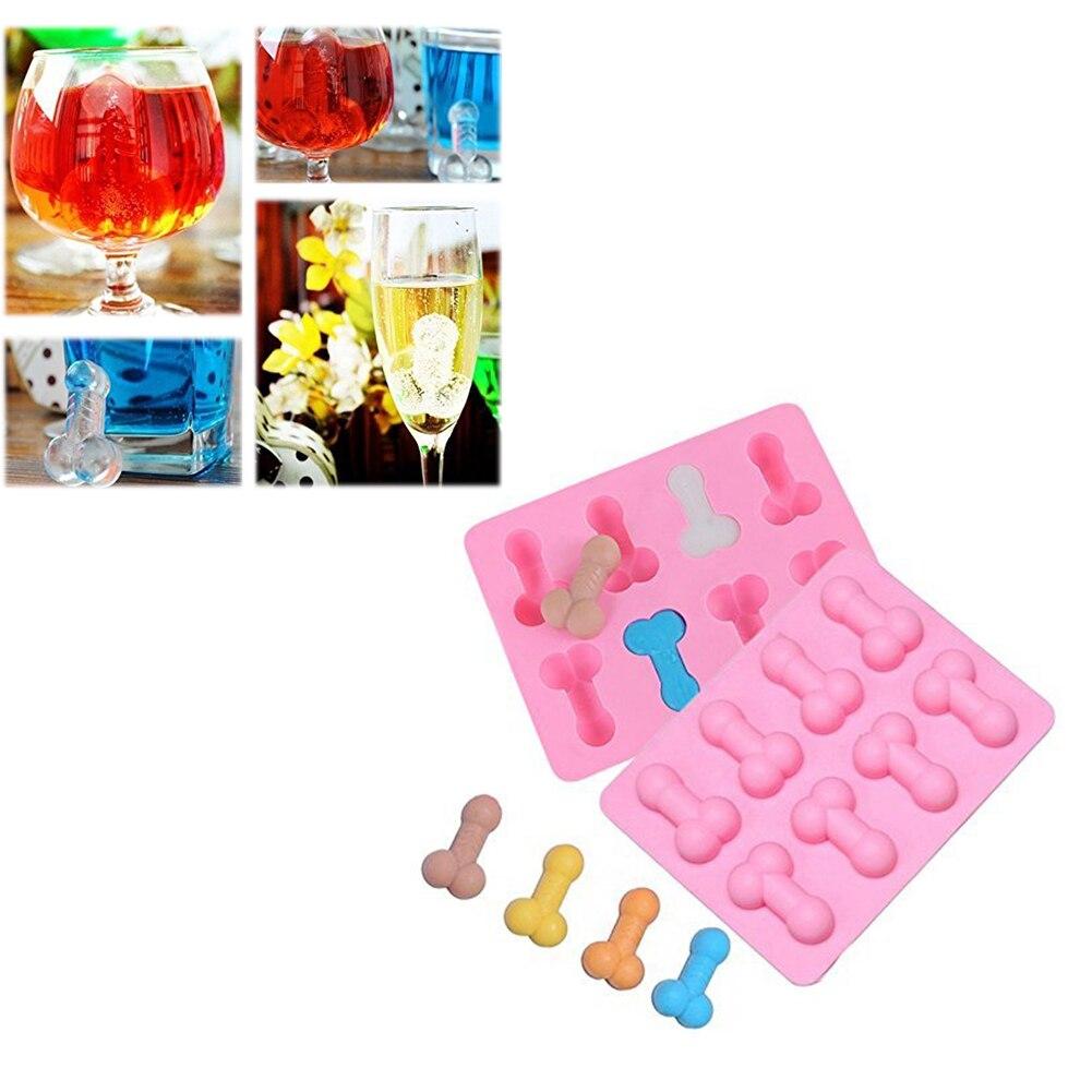 Criativo sexy silicone molde multi uso 8 cavidades pênis em forma de molde para gelo cubo de chocolate doces jello tiro bolo colorido