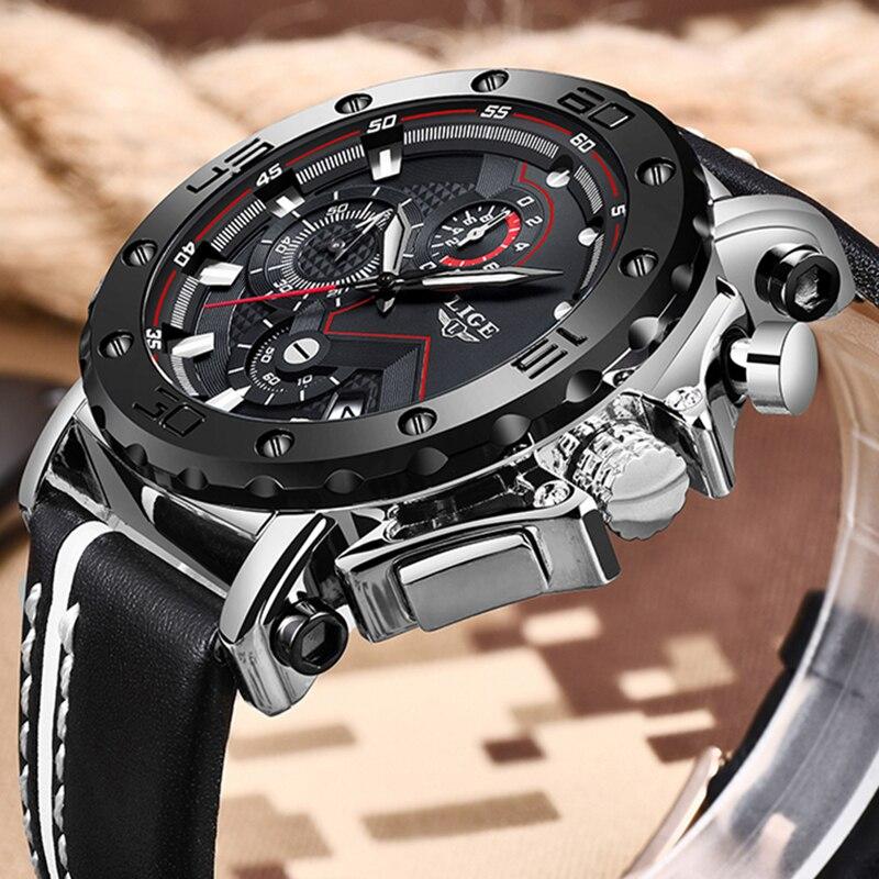 Relógio de pulso de quartzo à prova dwaterproof água relógio de pulso de quartzo masculino de luxo masculino grande dial negócios cronógrafo