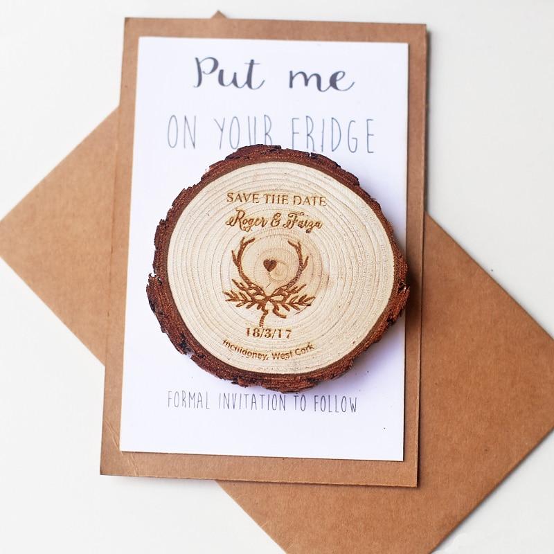 Cornamentas rústicas rebanadas de madera ahorran la fecha, imán de la boda del vintage, favores de la boda de las astas, imán personalizado de la fecha