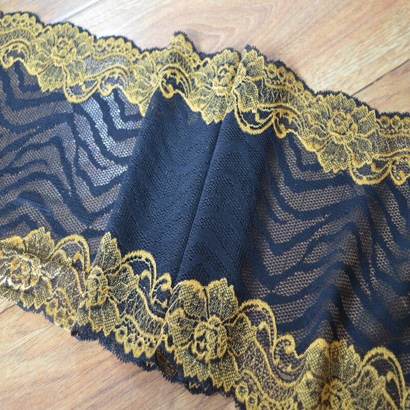 19 cm 2yds/lot amarelo padrão preto gaze Artesanal Decoração Do Cabelo Grande Elástico Esticar Guarnição Do Laço do vestido de casamento saia lace1731912
