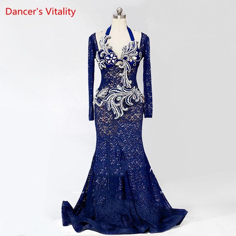 فستان دانتيل قطعة واحدة مخصص ، تنورة أداء زي الرقص الشرقي ، مرحلة ، للنساء ، شحن مجاني ، جديد