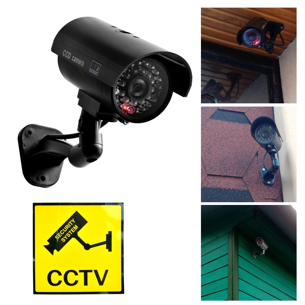 Smarsecur Fake Camera Dummy Waterproof Security CCTV Surveillance Camera With Flashing Red Led Light Outdoor Indoor solar power dummy camera security waterproof fake camera outdoor indoor bullet led red light monitor cctv surveillance camera