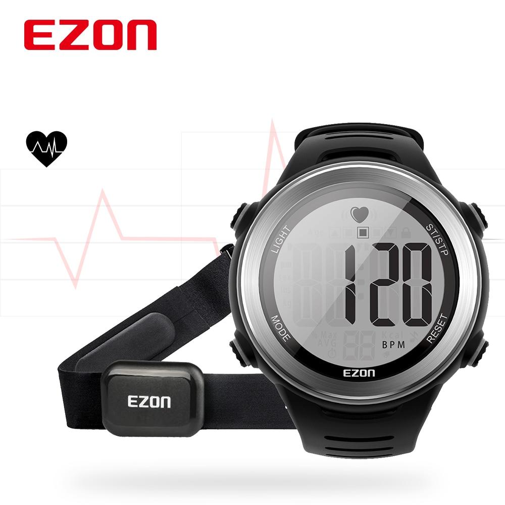جديد وصول EZON T007 مراقب معدل ضربات القلب ساعة رقمية إنذار ساعة توقيت الرجال النساء في الهواء الطلق تشغيل الساعات الرياضية مع شريط للصدر