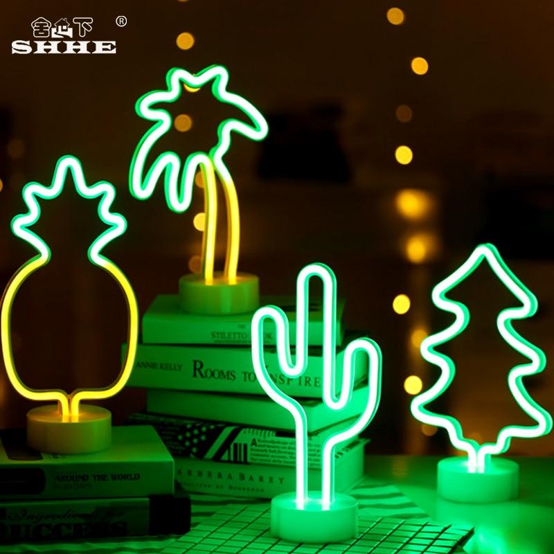 Sinal de néon de Mesa Luz CONDUZIDA Da Noite Cactus Abacaxi Coconut Tree Árvore de Natal Neon Mesa Candeeiro de Mesa de Luz para o Festival Do Partido decoração