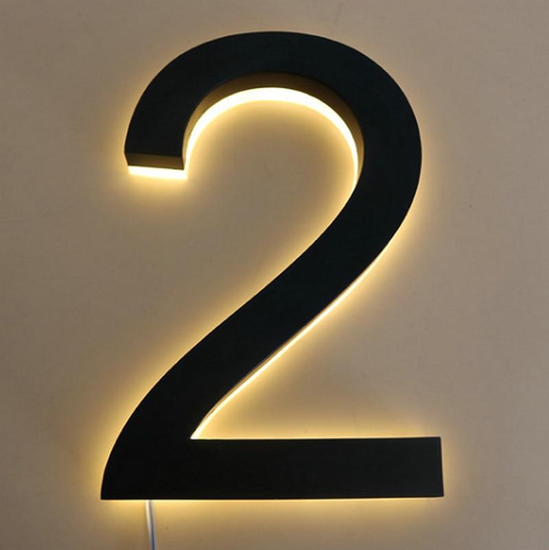 مقاوم للماء ضوء تسجيل الفولاذ المقاوم للصدأ ثلاثية الأبعاد Led ضوء مضيئة أرقام المنزل عنوان أرقام Led لوحة الباب