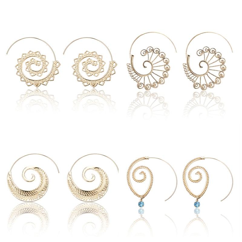 Pendientes de espiral grande de Metal de 6 diseños estilo Punk pendientes de aro huecos para mujer Color dorado étnico Vintage E0446