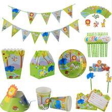 Dschungel tier Thema Geschirr Set Geburtstag Party Dekoration Kinder platte Tassen hüte Tischdecke Flagge Stroh Partei Liefert