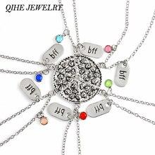 QIHE bijoux 6 pièces/ensemble Pizza collier avec breloque BFF strass coloré meilleurs amis pour toujours nourriture bijoux cadeau pour elle