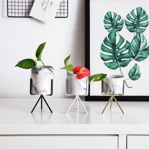 Nordic Style Geometric Iron Rack Holder Metal Stand with Ceramic Planter Desktop