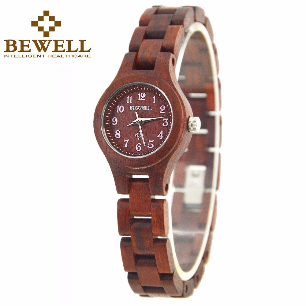 BEWELL Casual Women's Wood Watches Small Round Dial Ladies Wrist Watch Quartz Movement Relogio Feminino 123A