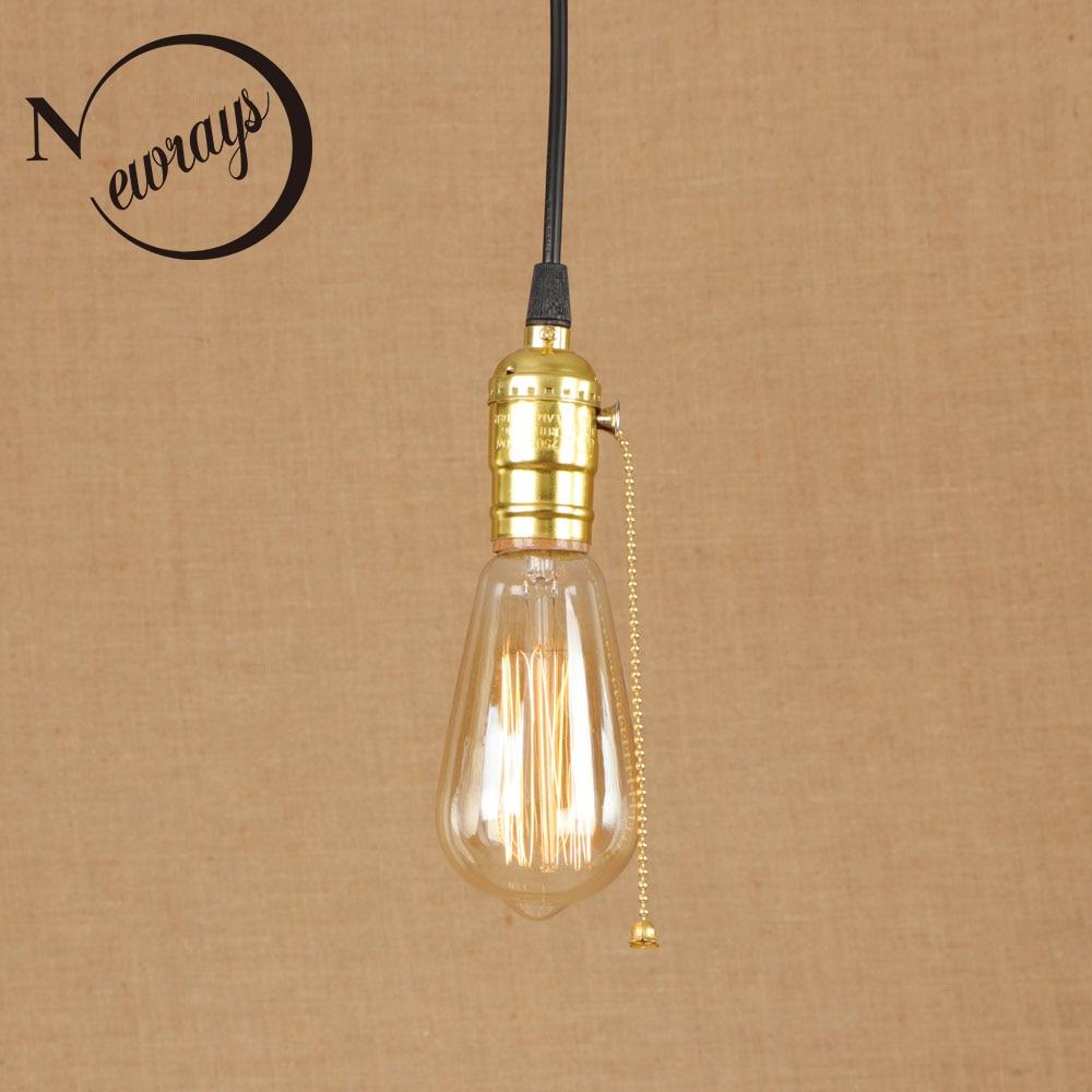 Vintage iron painted gold art deco pendant lamp E27 220V LED 3 styles hanging light fixture restaurant bedroom living room hotel