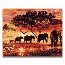 Pintura al óleo DIY con estampado de elefante africano al atardecer, pintura por números en lienzo, pintura para colorear diy