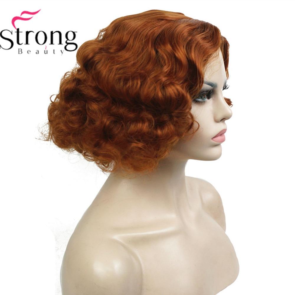 سترونجبيوتي شعر مستعار قصير مجعد شعر مستعار المرأة الاصطناعية كابليس
