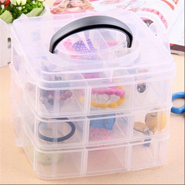 1 pc multi-camada utilitário caixa de armazenamento caixa de plástico transparente 3 camada arte do prego artesanato pesca maquiagem caixa de armazenamento de jóias