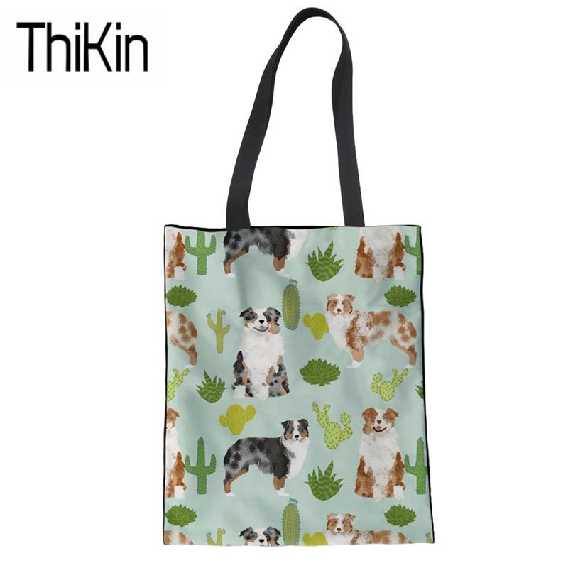 THIKIN Canvas Shopping Bag Women Cute Australian Shepherd Printing Shoulder Tote Bag Ladies Foldable Shopper Bag for Recycle