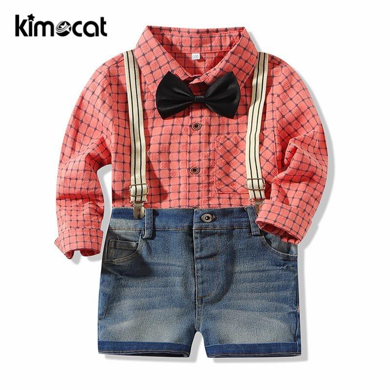 Kimocat بيبي بوي ملابس الأطفال وسيم 3 قطعة الدعاوى القوس السراويل الرياضية الاطفال الملابس موضة ملابس الأولاد Clohing مجموعة