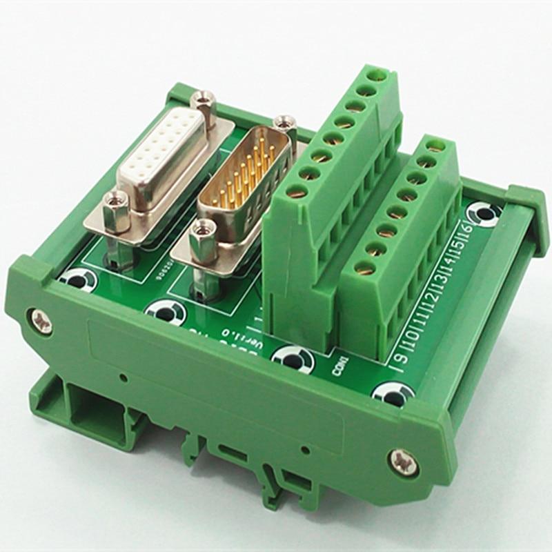 Módulo de interfaz de montaje de carril DIN DB15 D Sub, macho/hembra, placa de ruptura.