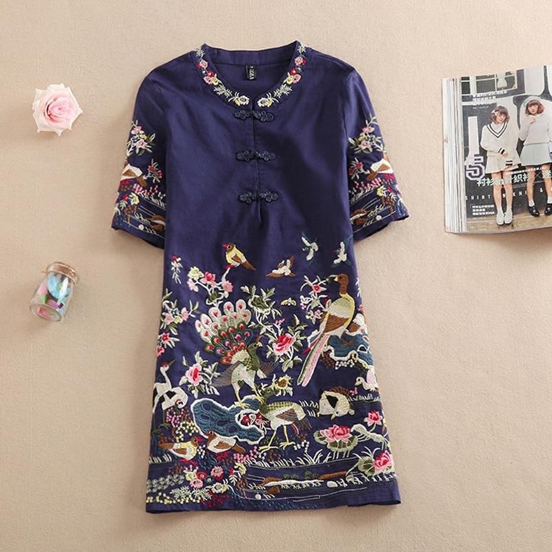 Nueva blusa Floral de manga corta con bordado informal de verano para mujer, vestidos, camisas, Tops femeninos largos, Vestido corto Vintage de línea a