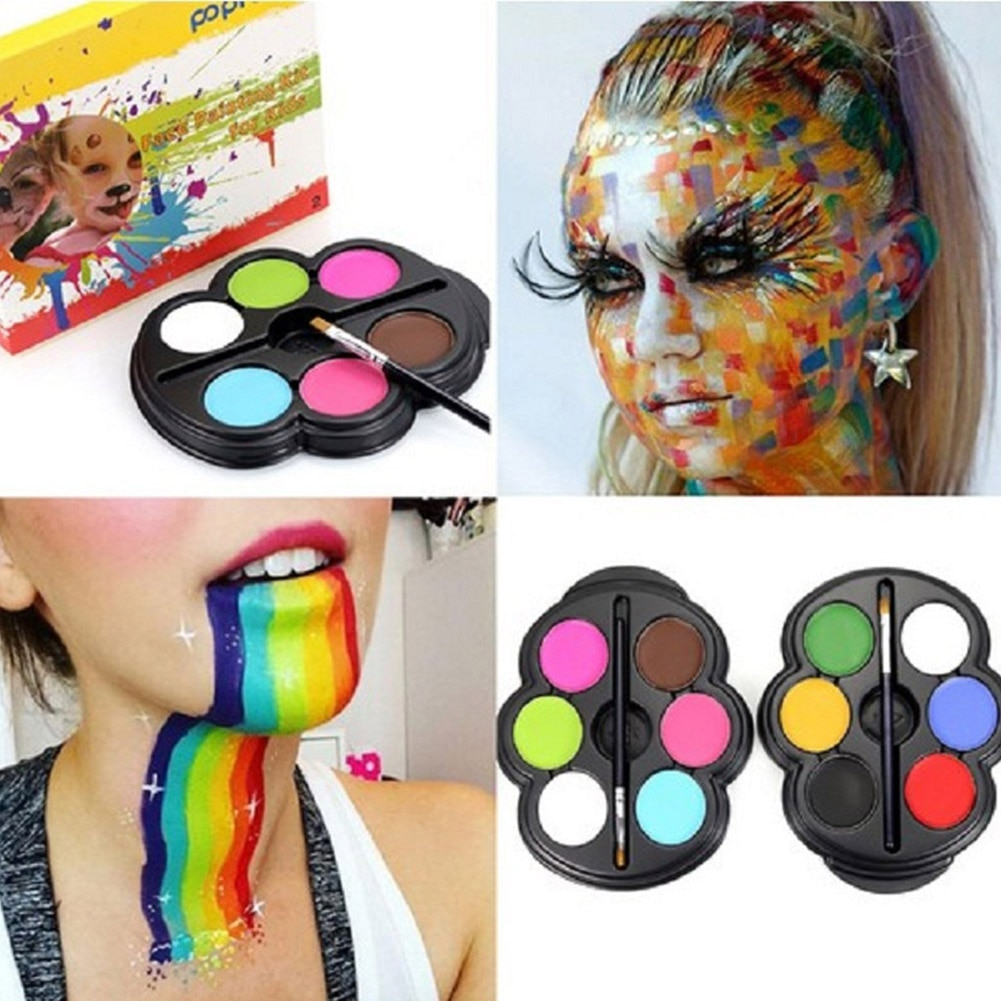 6 couleurs peinture pour le corps Palette UV brillant peinture pour le visage tatouage temporaire Pigment peinture pour le corps