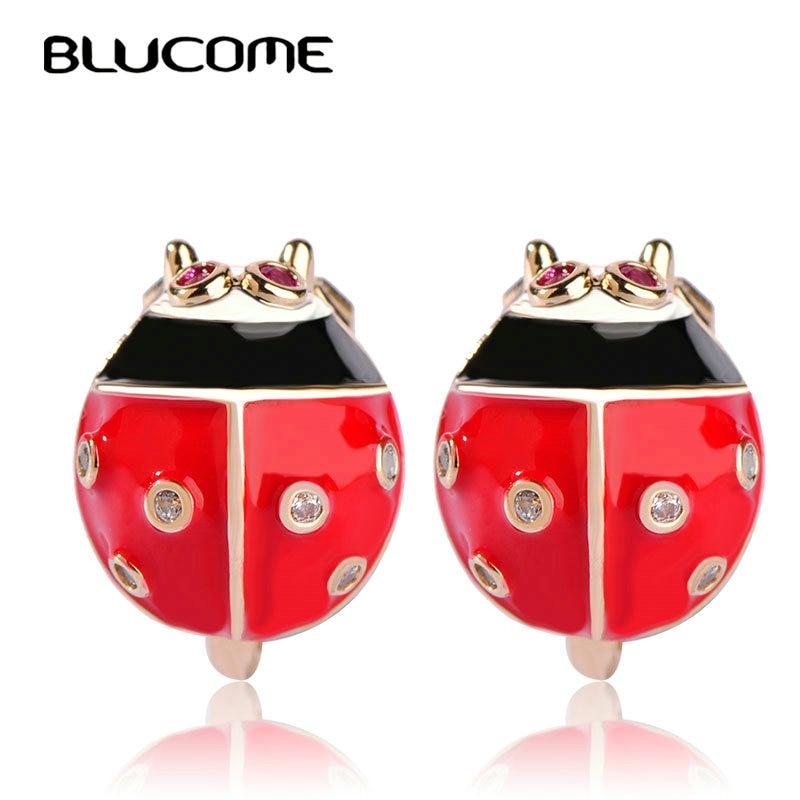 Blucome cobre vermelho esmalte parafuso prisioneiro brincos redondos pequenos joaninha inseto brincos para mulheres meninas festa de casamento jóias macio pinos da orelha