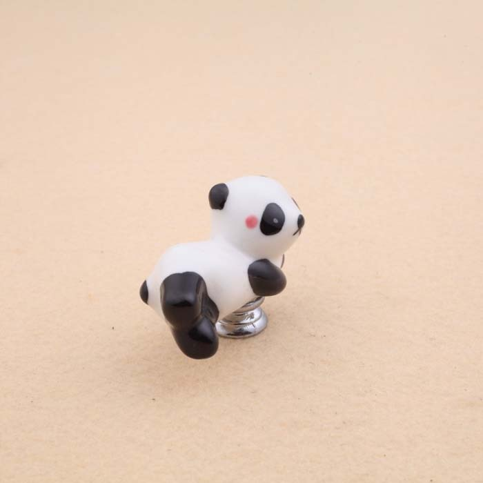Lovely Cartoon Panda Shape Cabinet Door Knobs, Kids room furniture Drawer Dresser Ceramic Knob Pulls Handle