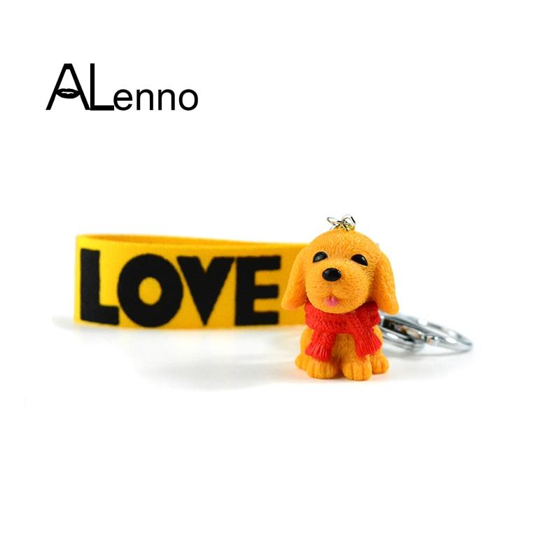Llavero con campana de perro Golden Retriever ALenno de cuatro colores, colgante de cadena para mujer, accesorios de suspensión para bolsos, llaves, joyería de baratija