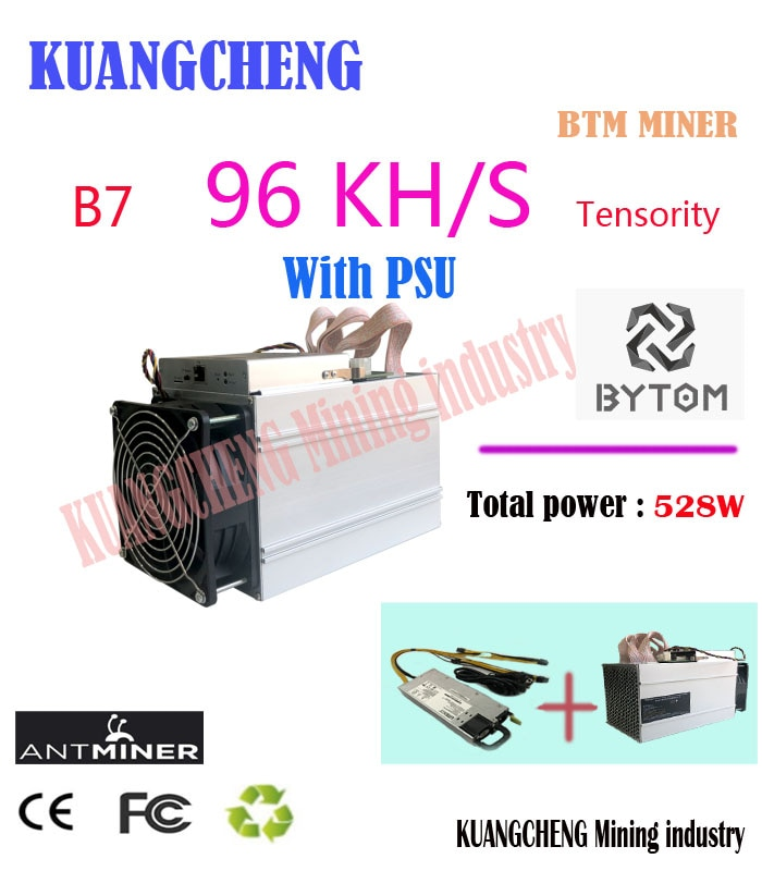 2019 used  Antminer B7 96KH/s 528W BTM Miner With 750W PSU Asic Tensority Miner Mine BTM better than Antminer S9 S11 S15 A9 Z9