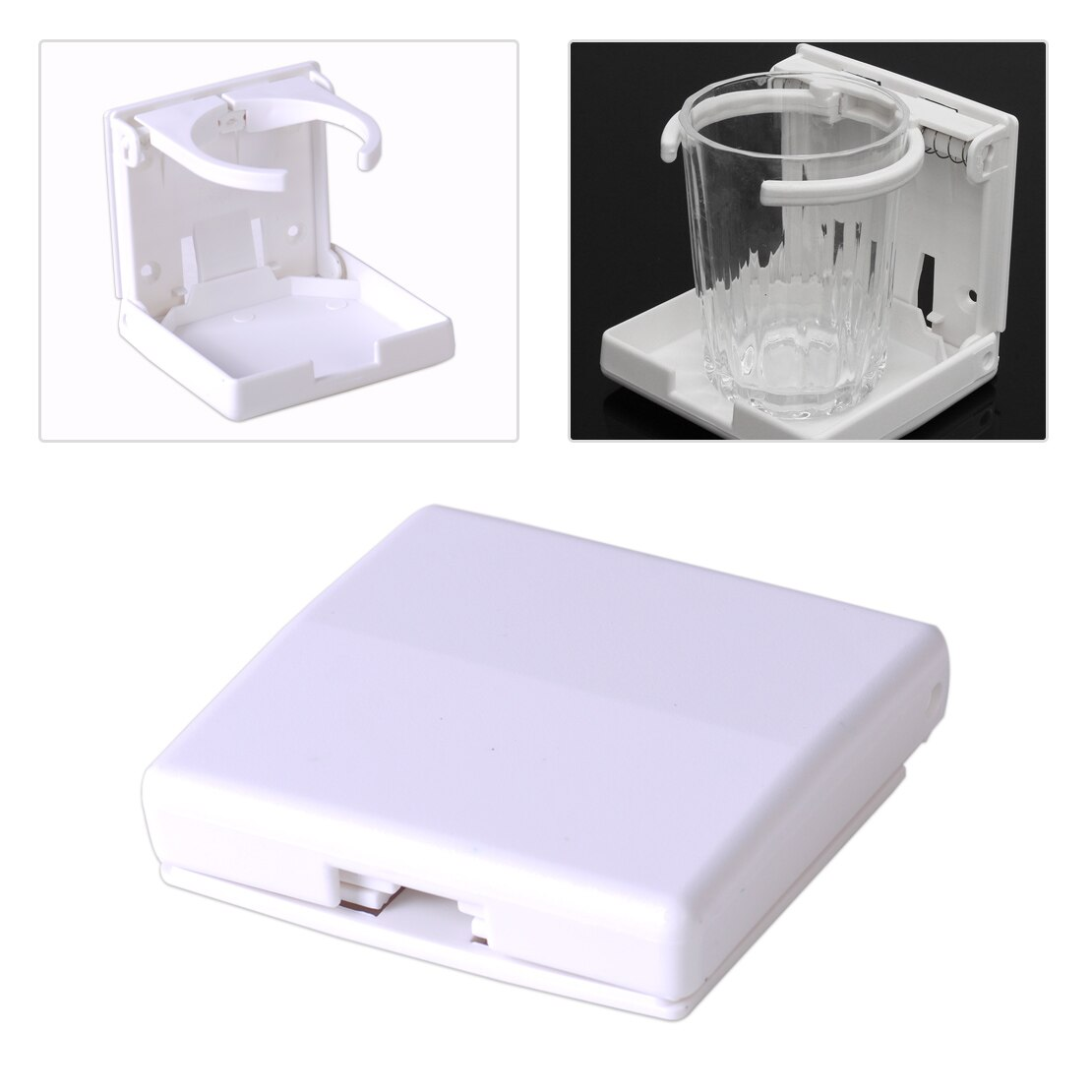 DWCX nueva moda de plástico blanco ajustable plegable bebida agua taza titular de la bebida apto para barco marino caravana yate
